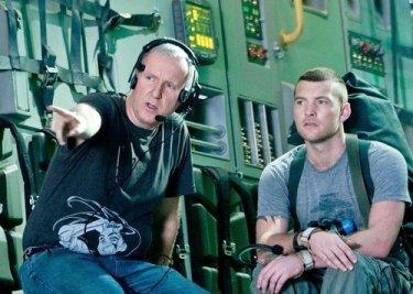 James Cameron e Sam Worthington sul set di Avatar