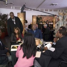 Morris Chestnut, il regista Bill Duke, Taraji P. Henson e T.D. Jakes sul set del film Not Easily Broken