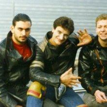 Claudio Del Falco con Giorgio Tirabassi e Roberto Trasarti sul set di Snack Bar Budapest, di Tinto Brass.