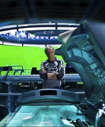 Una futuristica immagine di James Cameron sul set di Avatar