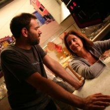 Il regista Fausto Brizzi e Carla Signoris sul set del film Ex