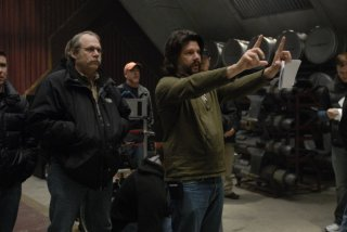 Ronald D. Moore sul set dell'episodio A Disquiet Follows My Soul di Battlestar Galactica