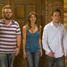Tyler Labine, Missy Peregrym e Bret Harrison in una scena dell'episodio The Sweet Science di Reaper