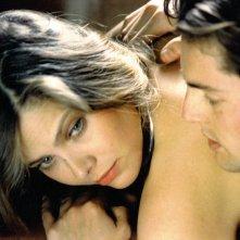 Nicola Farron e una splendida Ornella Muti in un wallpaper del film Il frullo del passero.