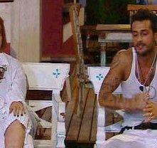 Marina Ripa di Meana e Fabrizio Corona durante la prima puntata de La Fattoria 4