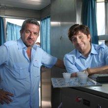 Mario Porfito e Pietro Pignatelli sul set del film Il sogno nel casello