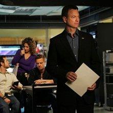 Gary Sinise in primo piano durante un momento dell'episodio 'Communication Breakdown' della serie tv CSI - New York