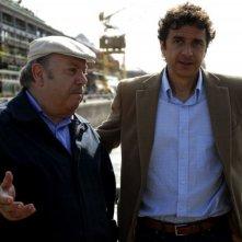 Lino Banfi e Blas Roca Rey sul set del film tv Scusate il disturbo
