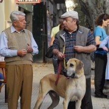 Lino Toffolo e Lino Banfi in una sequenza del film tv Scusate il disturbo
