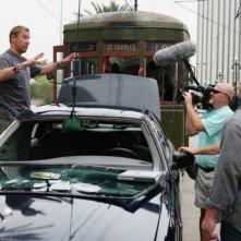 Il regista Renny Harlin e John Cena sul set del film 12 Rounds