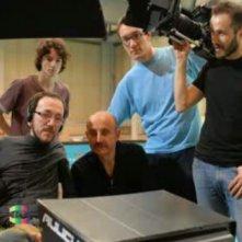 Mirko Locatelli, Giuseppe Cederna, Lorenzo Pedrotti sul set de L'ultimo giorno d'inverno
