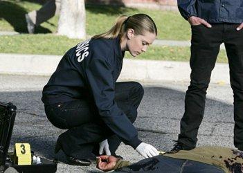 Lauren Lee Smith sulla scena di una sparatoria nell'episodio 'No Way Out' della nona stagione di CSI