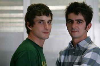 Alessandro Tiberi e Francesco Mandelli sul set del film Generazione 1000 euro