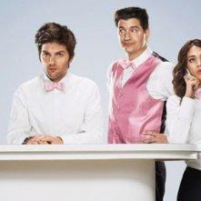 Adam Scott, Ken Marino e Lizzy Caplan in una foto promozionale di Party Down
