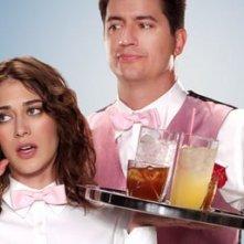 Ken Marino e Lizzy Caplan in una immagine promozionale di Party Down