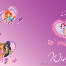 Bloom, Tecna, Timmy, Flora ed Helia in un wallpaper della serie Winx Club