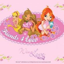 Stella, Flora e Bloom in un wallpaper della serie Winx Club