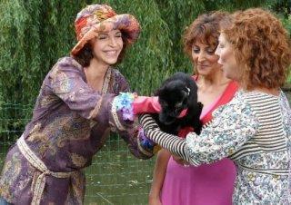 Anna Galiena sul set del film tv Un amore di Strega