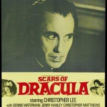 Christopher Lee in una lobbycard de Il marchio di Dracula