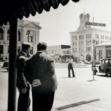 Alfred Hitchcock sul set de L\'ombra del dubbio