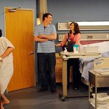 Jason Segel, Alyson Hannigan, Cobie Smulders e Josh Radnor in una scena dell'episodio The Leap di How I Met Your Mother