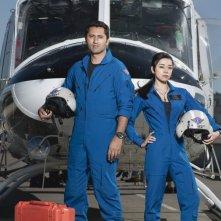 Cliff Curtis ed Aimee Garcia in una foto promozionale della serie Trauma