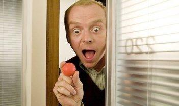 Simon Pegg in una scena del film How to Lose Friends and Alienate People