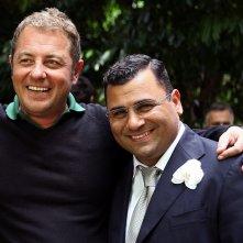 Sergio Friscia sul set di Squadra Antimafia - Palermo oggi con il regista Pier Belloni