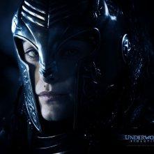 Un wallpaper di Zita Gorog che interpreta Amelia con l'elmo in 'Underworld: Evolution'