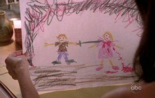 Desperate Housewives: i terrificanti disegni del figlio di Karl nell'episodio A Spark. To Pierce the Dark.