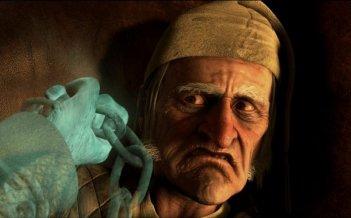 Jim Carrey è Ebenezer Scrooge nel film A Christmas Carol