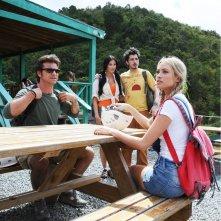 Paolo Conticini, Jayde Nicole, Paolo Ruffini e Martina Stella in un'immagine del film Un'estate ai Caraibi