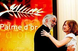 Cannes 2009 Michael Haneke Vincitore Della Palma D Oro Per Il Nastro Bianco Accanto A Isabelle Huppert 118085