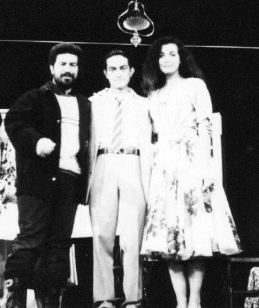 Lello Arena, Nicola Natalia e Marina Suma sul set del film Cuori nella tormenta regia di Enrico Oldoini