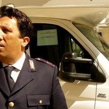 Angelo Russo sul set della serie Il commissario Montalbano, nella quale interpreta il mitico agente Catarella, centralinista del Commissariato di Vigata