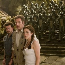 Danny McBride, Will Ferrell e Anna Friel in una scena del film Land of the Lost