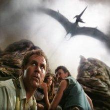 Will Ferrell, Anna Friel e Danny McBride in una sequenza del film Land of the Lost