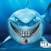Un wallpaper dello squalo Bruce con Marlin e Dory nel film 'Alla ricerca di Nemo'