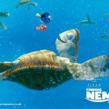 Un wallpaper dello tartaruga marina con Marlin e Dory nel film 'Alla ricerca di Nemo'