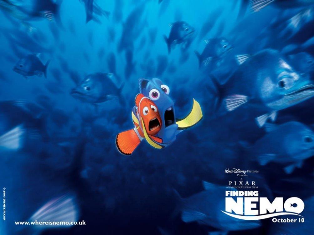 Un wallpaper di Marlin e Dory nel film 'Alla ricerca di Nemo'
