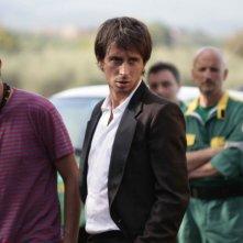 Il regista Andrea Pellizzer e Fabrizio Veronese sul set del film Tre lire - Primo giorno