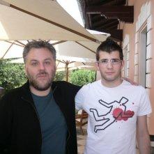 Sergio Menna, vincitore del concorso per l'anteprima di Martyrs con Movieplayer.it, in compagnia del regista del film Pascal Laugier