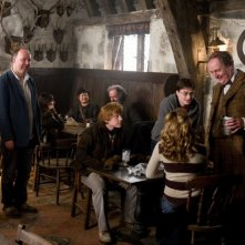 Il regista David Yates, Rupert Grint, Daniel Radcliffe e Jim Broadbent sul set del film Harry Potter e il principe mezzosangue