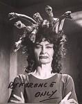 Prudence Hyman sul set del film Lo sguardo che uccide