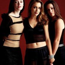 Un'immagine delle sorelle Halliwell: R. McGowan, A. Milano e H.M. Combs per la 4 stagione di Streghe