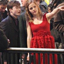 Daniel Radcliffe, Emma Watson e Rupert Grint sul set di Londra, per il film 'Harry Potter e i doni della morte - parte 1'