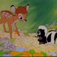 L\'incontro tra Bambi e la puzzola Fiore nel film Bambi