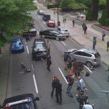 Una foto dal set della stagione 2 di Fringe