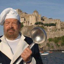 Mestolo e arguzia per Bud Spencer, protagonista della fiction giallo-culinaria I delitti del cuoco
