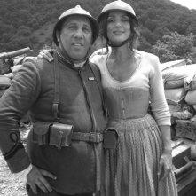 Angelo Russo e Ambra Angiolini sul set di Eroi per caso
